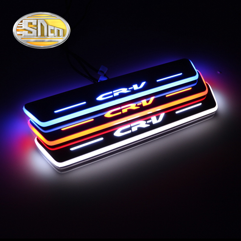 4PCS For <font><b>Honda</b></font> CR-V <font><b>CRV</b></font> 2015 2016 2017 <font><b>2018</b></font> Acrylic Moving <font><b>LED</b></font> Welcome Pedal Car Scuff Plate Pedal Door Sill Pathway Light image