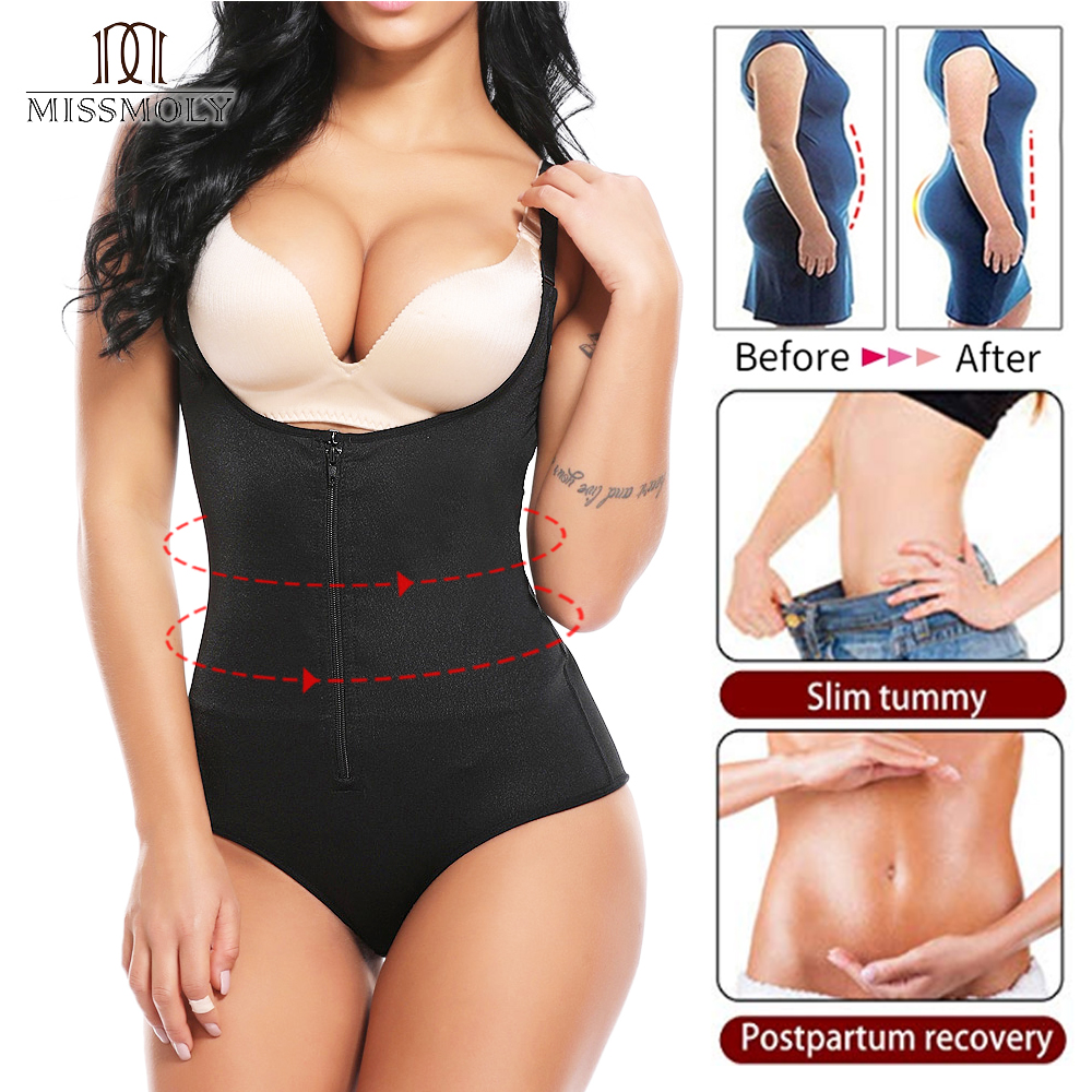 Fajas Reductoras Colombianas Post Surgery ZIpper Body Shaper Bodysuit Powernet