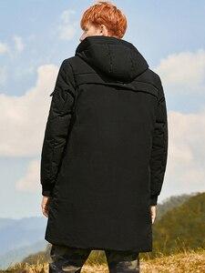 Image 4 - 2018 grosso inverno homens para baixo jaqueta marca roupas com capuz pato quente para baixo casaco masculino comprimento jaqueta preta