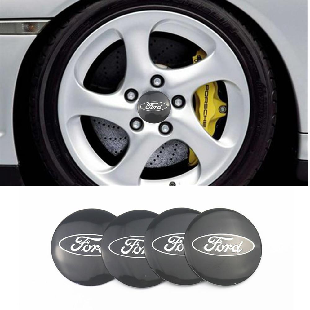 Car-styling 4pcs 56mm Car Tire Wheel Center Hub Caps Decorative Sticker For Ford Fiesta EcoSport ESCORT Focus 1 Focus 3 Focus