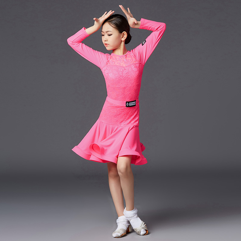 Girls Latin Dance Dress Professional Latin Dance Costumes Performance Clothing Competition Dance Dress Top Skirts Suit  DQS3702