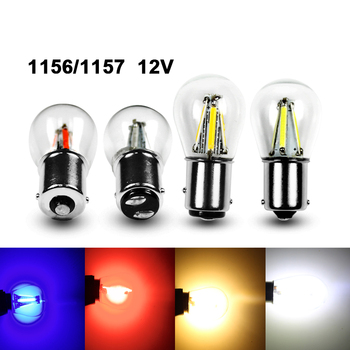 1156 1157 LED Car Light Bulb BA15S BAY15D 2W 4W glass filament bulbs P21W Brake Auto Reverse Lights Parking Lamp 12V white red цена 2017