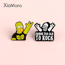 Simpsons & Hip-Hop Band Oldschool Rap Enamel Pin Lencana Bros Kemeja Denim Kerah Pin Punk Perhiasan Keren Teman Hadiah(China)