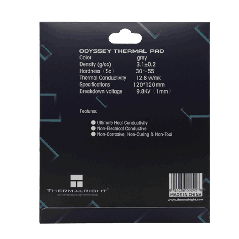 Thermalright ODYSSEY Heat Dissipation Silicone Pad CPU/GPU Card Water Cooling Thermal Mat 12.8W/mk 85x45mm 120X120MM 4