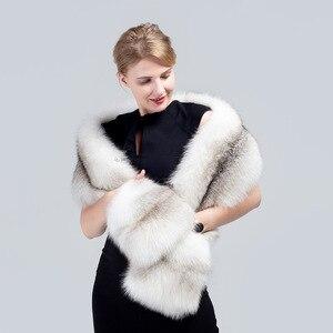 Image 5 - MS.MinShu bufanda de piel de zorro grande de lujo piel de zorro Natural estola piel auténtica de zorro chal de bolsillo Vestidos de Noche de moda