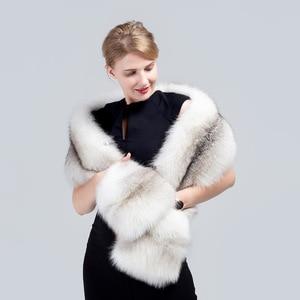 Image 5 - MS. minShu Vos Bont Sjaal Luxe Grote Vos Huid Sjaal Natuurlijke Fox Fur Stola Echte Fox Fur Shawl Pocket Mode Avond jurk