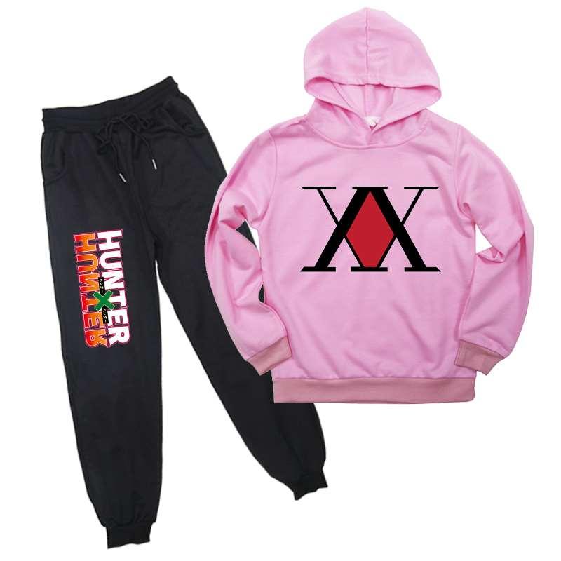 Japanese Anime Hunter X Hunter Autumn Winter child boy girls thick fleece suit 2 pieces sets hoodies sweatshirt and pants suits