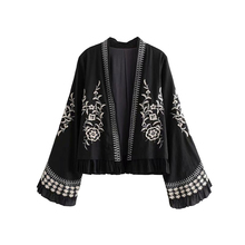 Vintage Stylish Embroidery Open Stitch Jacket Coat Women 2019 Fashion Ethnic Style Long Flare Sleeve Outerwear Chic Tops цены онлайн