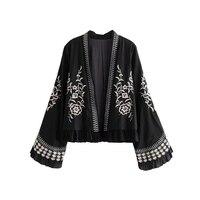Vintage Stylish Embroidery Open Stitch Jacket Coat Women 2019 Fashion Ethnic Style Long Flare Sleeve Outerwear Chic Tops