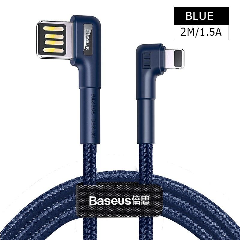 Baseus usb кабель для зарядки с двойным изгибом для iPhone 11 XS Max XR 8 Plus 2.4A быстрое зарядное устройство кабель для передачи данных USB шнур для зарядки - Название цвета: 2M 1.5A