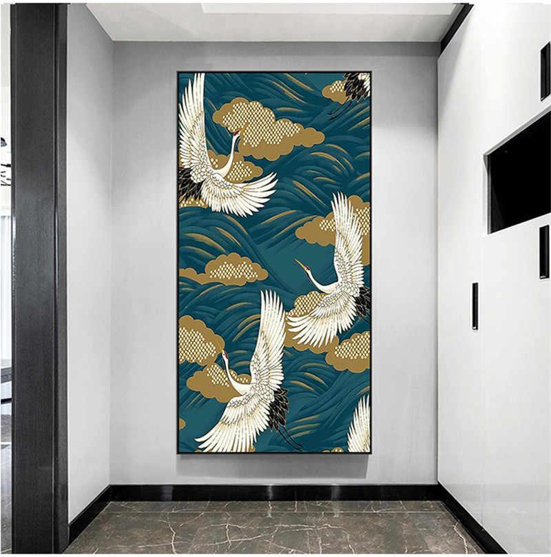 Size : 21x30 cm No Frame Oiseaux Grue Jaune Estampe Japonaise Oriental Art Prints Mur Coastal Art Toile Peinture Vintage Daffiche Accrochage Home Decor No Frame