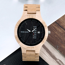 montre homme BOBOBIRD Wooden Watches Date Weeks Function High Quality Movement F