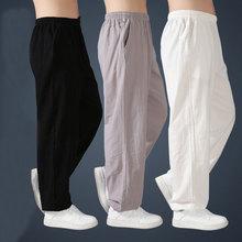 Suelto de lino de algodón pantalones para hombres pantalones de harén de los hombres pantalones de taichí artes marciales Kung Fu de verano Pantalones cortos de correr Yoga