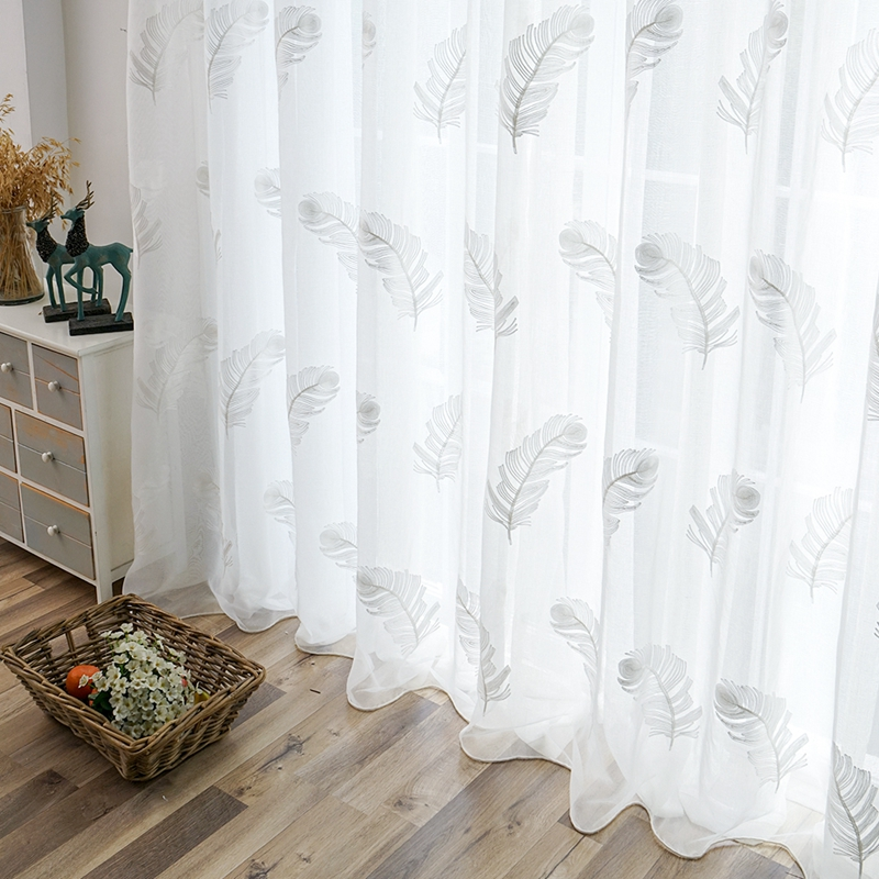 Modern Embroidered Sheer Curtains For Living Room Bedroom Kitchen Elegant Yarn Curtains Feather White Voile Curtains Panel