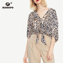 ROHOPO Woamn Loepard Autumn Blouse Lantern Sleeve Buttons Fly Tie Hem Crop Top Printed Shirt #1438 twist hem glitter crop tee