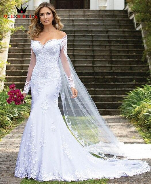 Custom Made 2020 New Design Trouwjurken Mermaid Sweetheart Lange Mouwen Tulle Lace Kralen Eenvoudige Sexy Bruidsjurken CO34