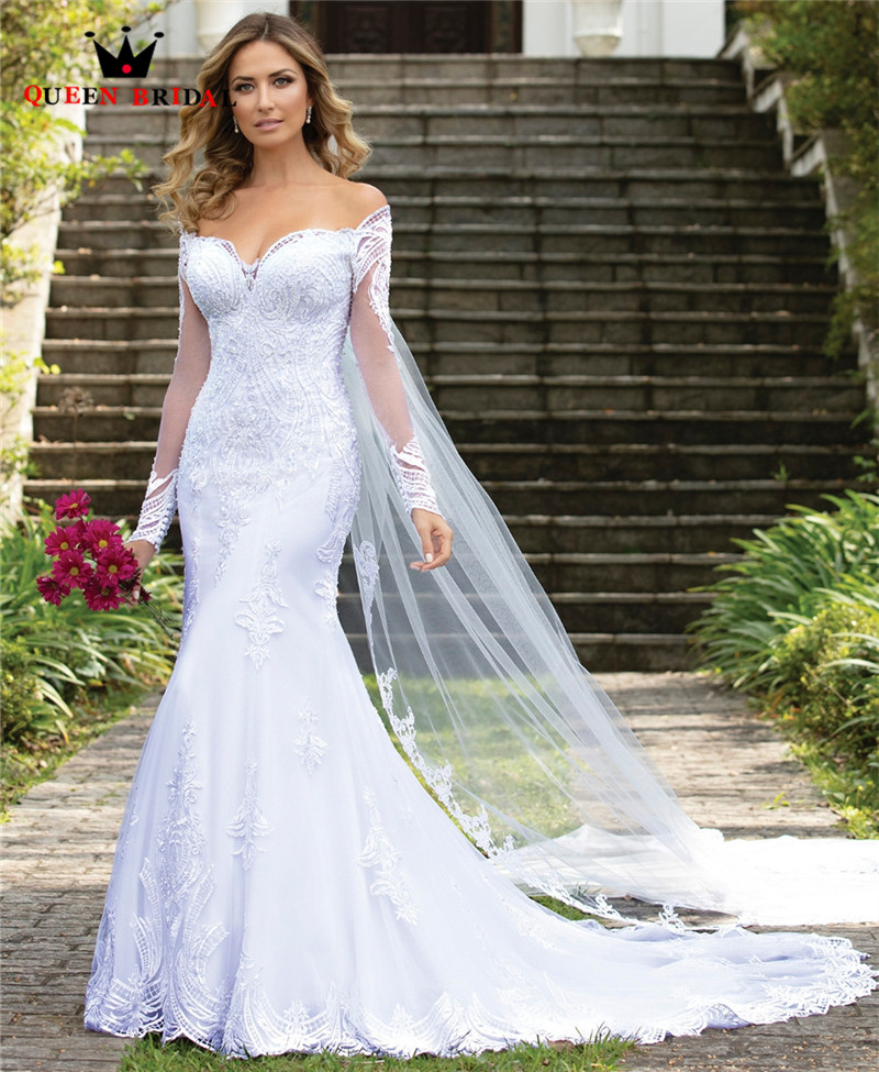 Custom Made 2020 New Design Wedding Dresses Mermaid Sweetheart Long Sleeve Tulle Lace Beading Simple Sexy Wedding Gowns CO34