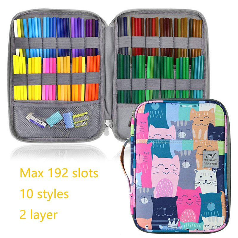 192 Slots Large Capacity Pencil Bag Case Organizer Cosmetic Bag For Colored Pencil Watercolor Pen Markers Gel Pens Great Gifts