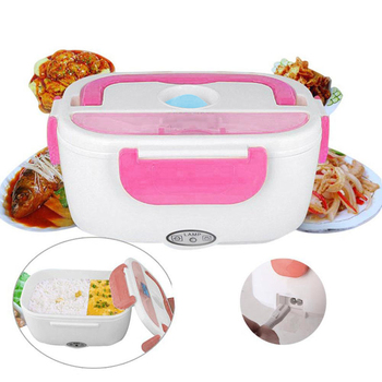 12V 110V Portable Electric Heating Stainless Steel Lunch Box Home Car Dual Use Rice Box Food Warmer Dinnerware Set image