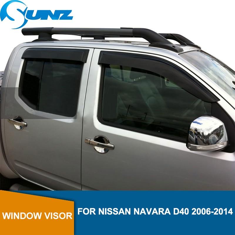 Side Window Deflectors For NISSAN NAVARA D40 door visor  2006 2007 2008 2009 2010 2011 2012 2013 2014 SUNZ
