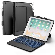 for iPad Air 1/ 2/2017 2018 New 9.7 Pro Bluetooth Keyboard case 7 Color Backlit Tablet Case