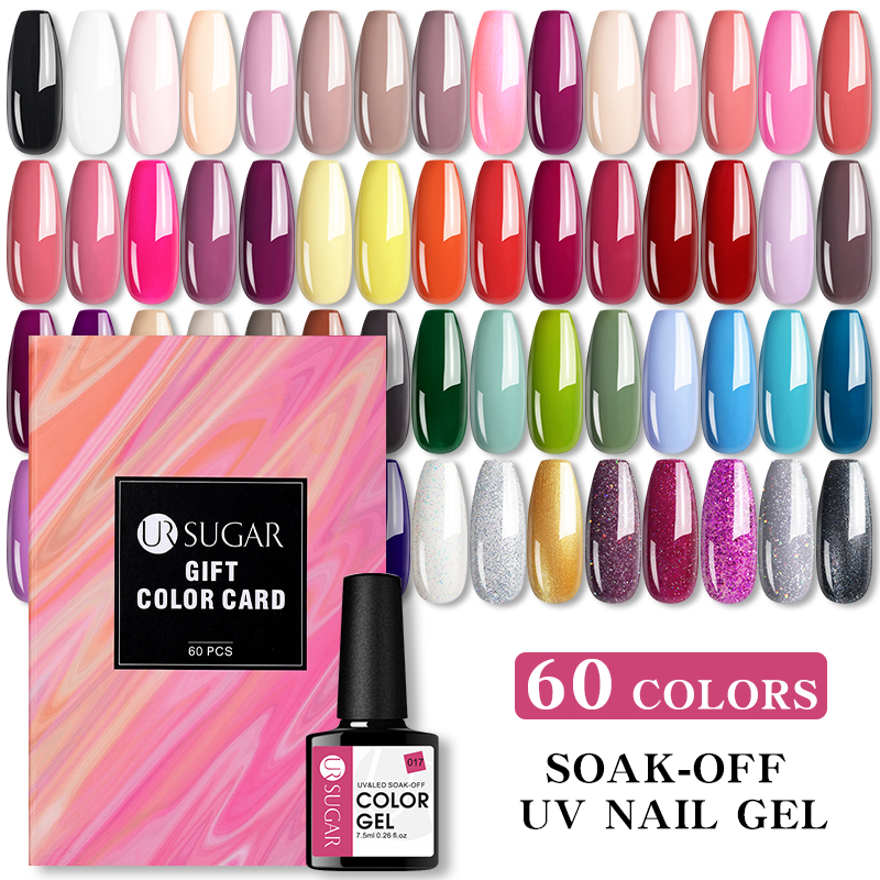 UR SUGAR 60pcs Colors 7.5ml Soak Off Gel Nail Polish Kit Nude Gray Purple Color And Glitter Pastel Gel Nail Kit With Color Card