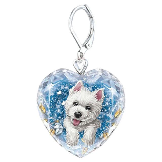 Dog Heart Crystal  Earrings 5