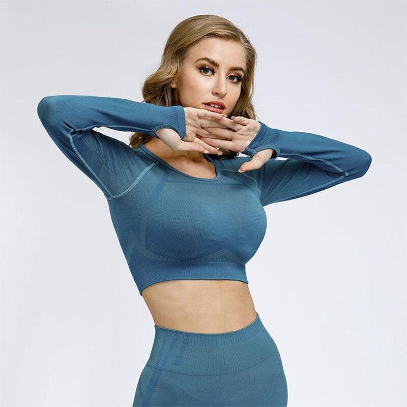 Укороченный Женский Топ с длинным рукавом футболки спортивная