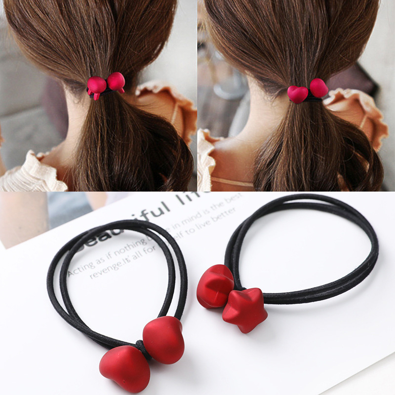Elastic Hairbands Cartoon Matte Red Rabbit Bears Hair Ties Heart Cube Ball Scrunchie Ponytail Holder Women Girl Hair Accessories