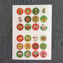 120pcs/pack Round Christmas Countdown Digital Creative Sealing Stickers Two Selections Label DIY Packaging