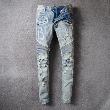 Fashion Streetwear Men Jeans Retro Blue Destroyed Ripped Jeans Men Hip Hop Pants Embroidery Spliced Designer Biker Jeans fashion designer men jeans blue 100