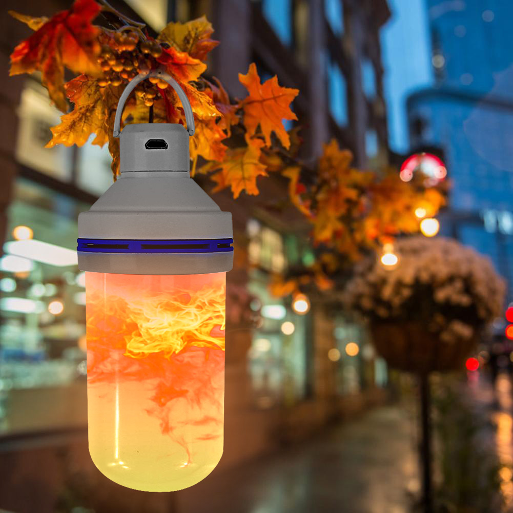 Durable USB Powered 4 Modes LED Flame Bulb Emergency Light Outdoor Christmas Hook Lamp Golden Yellow Flickering Fire Effect