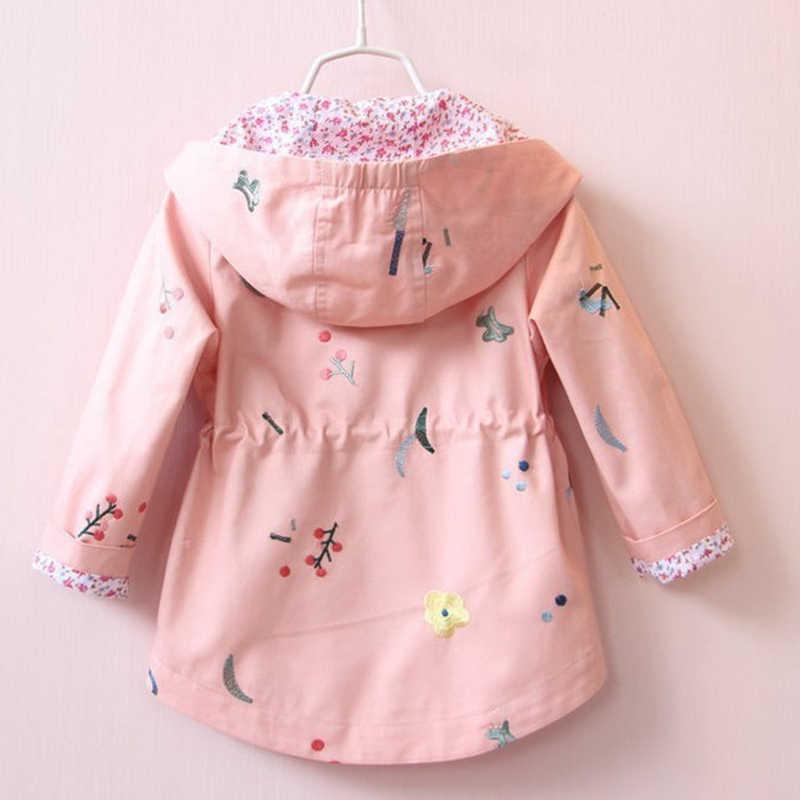 אביב סתיו בנות מזדמנים מעילי ברדס הלבשה עליונה אופנה הדפסת צבעים בוהקים מעיל רוח בגדי ילדים חמוד בנות מעיל