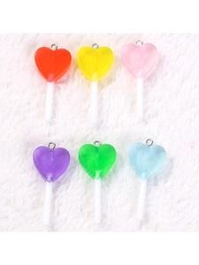 Lollipop Charms Candy-Accessories Jewelry Diy Glitter Heart-Shape Transparent Resin 16pcs/Lot