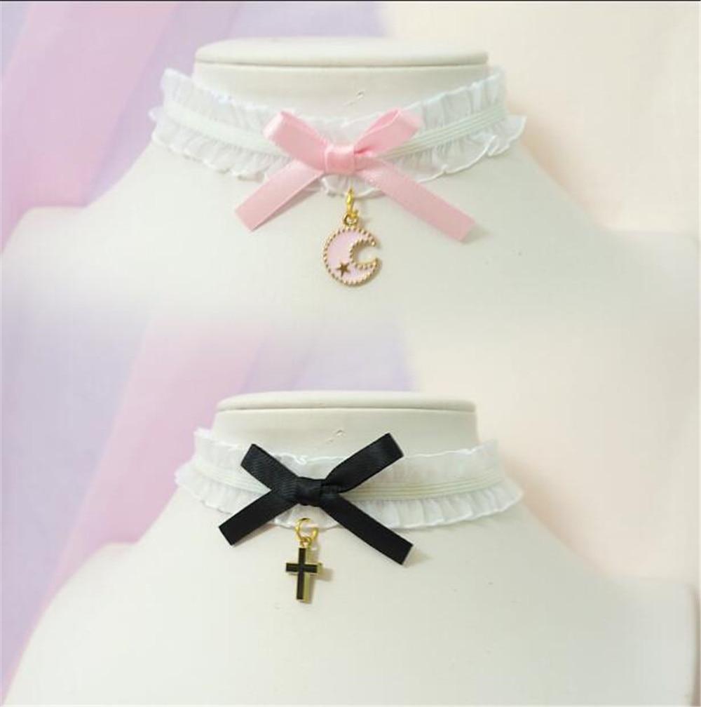 sweet cross pendant bownot Choker Harajuku Cute Lolita Ribbon Chain Cosplay Women Necklace B972