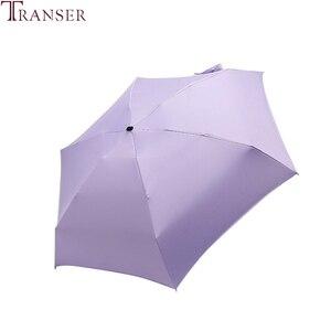 Image 4 - Transfer 9 renk düz hafif güneşli yağmurlu beş katlanır şemsiye katlanabilir güneş koruyucu Mini şemsiye 9905