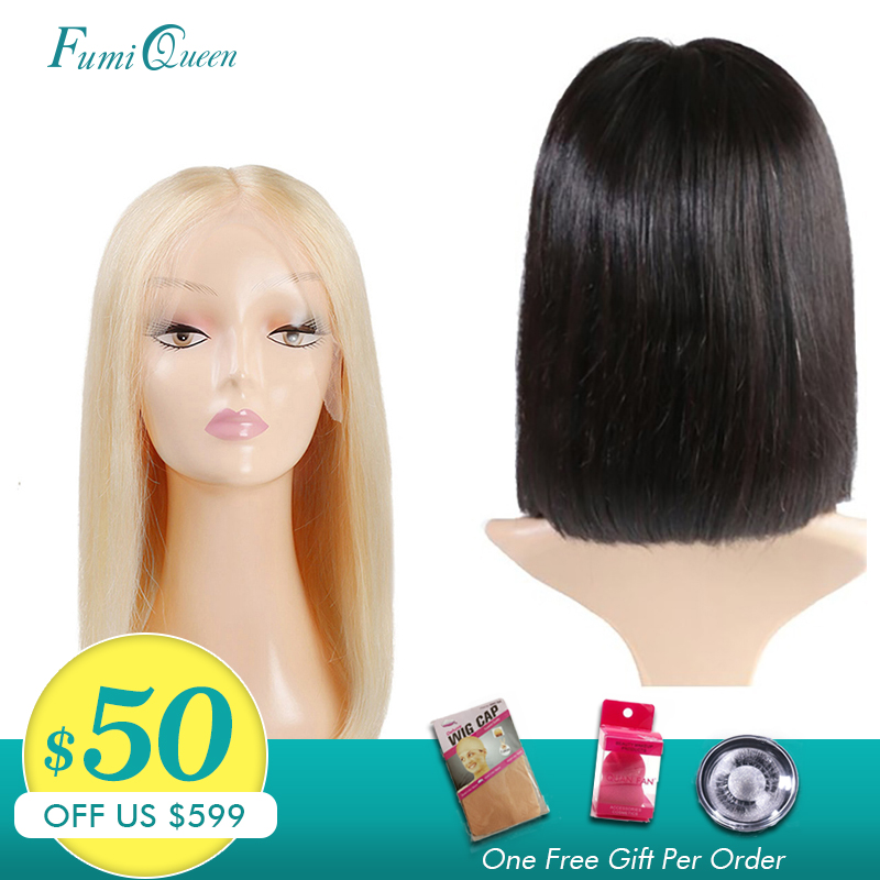 Middle Part Wigs Brazilian Straight Remy Hair #1B/#613 Blonde L Part Lace Wigs Ali FumiQueen Short Human Hair Bob Wigs For Women