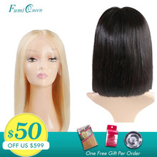 Middle Part Wigs Brazilian Straight Remy Hair #1B/#613 Blonde L Part Lace Wigs Ali FumiQueen Short Human Hair Bob Wigs For Women(China)