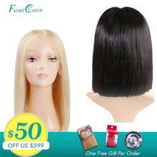 Middle Part Wigs Brazilian Straight Remy Hair #1B/#613 Blond