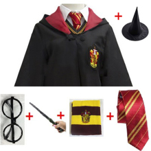 Cosplay Costume Potter Magic Robe Cape Suit Tie Scarf Wand Glasses Ravenclaw Gryffindor Hufflepuff Slytherin Gift