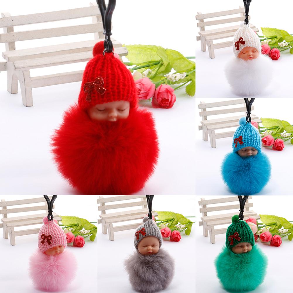 Baby Doll <font><b>Toy</b></font> DropshipCute Sleeping Baby Doll <font><b>Key</b></font> <font><b>Chains</b></font> For Women Bag <font><b>Toy</b></font> <font><b>Key</b></font> Ring Fluffy Pom pom Faux Fur <font><b>Plush</b></font> Keychains image