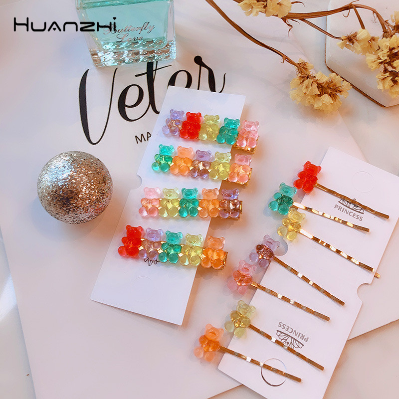 HZ 2019 New Lovely Colorful Acrylic Hair Clip Gummy Bear Hair Grip Barrettes Hairpin Hair Accessories For Women Girls Kids Party