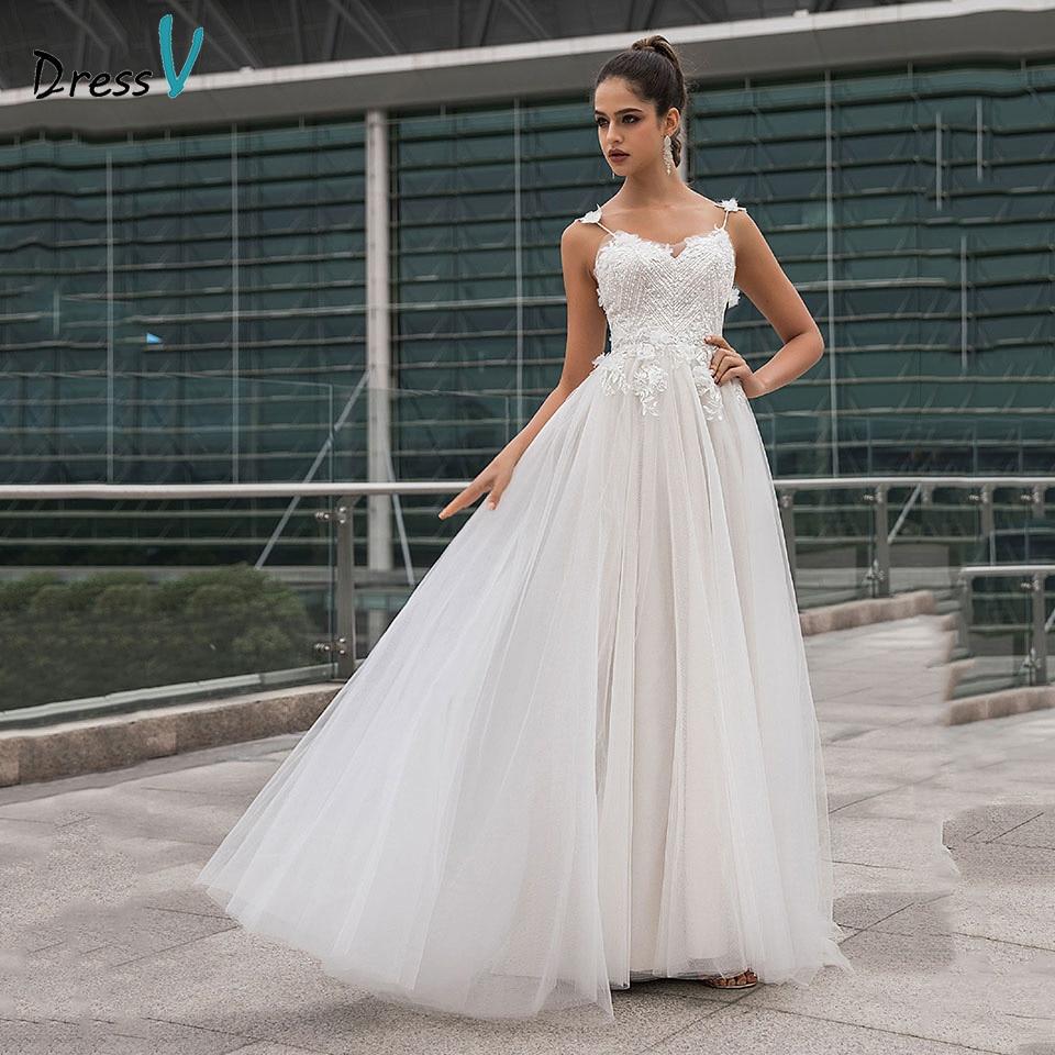 Dressv Elegant Wedding Dress Spaghetti Straps Sleeveless Appliques Sequins A Line Ourdoor&church Wedding Dresses Custom Flowers
