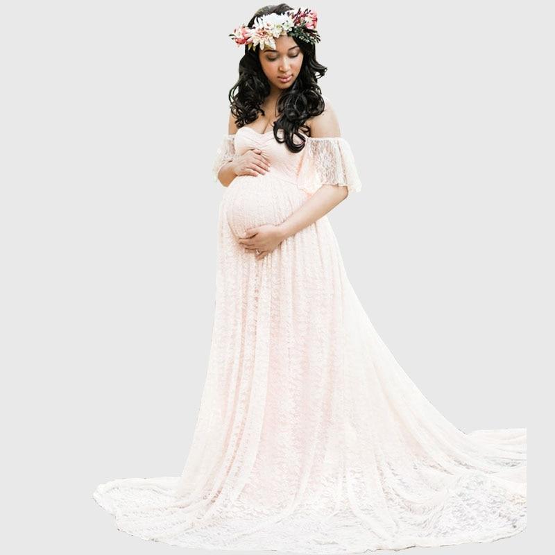 New Elegant Lace Maternity Dress Photography Props Long Dresses For Photo Shoot Pregnant Dress 11 Colors Pregnant Clothes