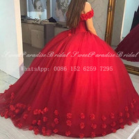 Gorgeous Red Tulle Rose Flowers Quinceanera Dresses 2020 Boat Neck Ball Gown Long Sweet 16 Dress Pageant Vestidos De 15 Anos