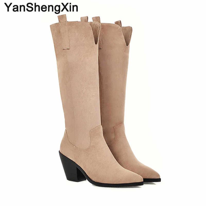 Yanshengxin sapatos mulher botas v-notch genuíno pele de salto alto botas femininas outono inverno botas apontou toe sapatos senhoras botas
