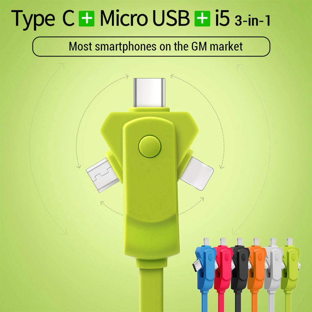 KISSCASE 3 In 1 USB Cable Fast Charging Type C Mobile Phone Cables Micro For iPhone 6s 7 8 6