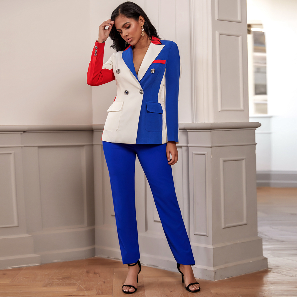 Ocstrade Blue V Neck Long Sleeve Maxi Distinctive Bodycon Suit FSY19234-Blue
