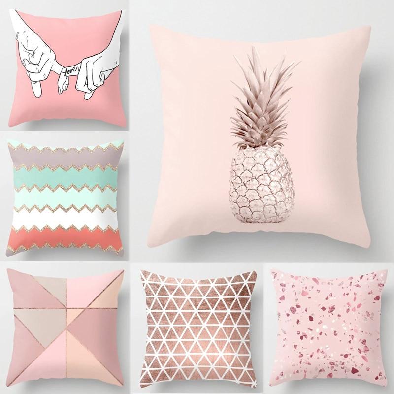Hf705fef76edc4c2d823111647a47806by New 1PC Popular Cushion Case Geometric Tropic Pineapple Nordic Sofa Pink Pillow Decorative