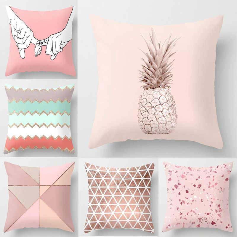 Nuevo 1PC Popular funda de cojín geométrico tropical piña nórdico sofá Rosa almohada decorativa